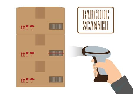 Operator hand holding scanner doing scan of a box with barcode.  barcode scan process. vector illustration. Stock Illustratie