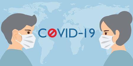 People face in respiratory protective mask and covid-19 disease. Dangerous cases of flu. Novel Coronavirus 2019. Pneumonia disease.CoVID-19 Virus outbreak spread. healthcare concept vector illustration. Stock Illustratie