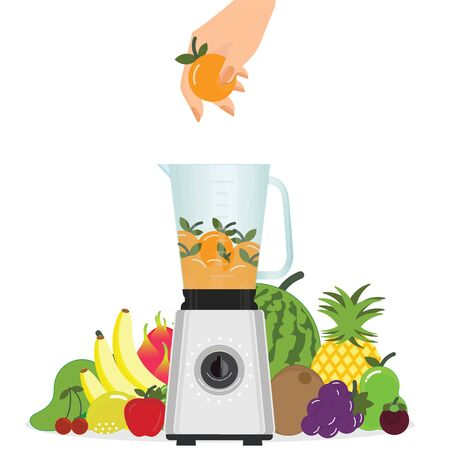 Hand putting orange fruit in Blender Kitchen Appliance with group of fruits isolated on white background.vector illustration.