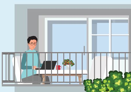 Young professional man working from home at his desk with laptop. Self employed conceptual vector illustration.
