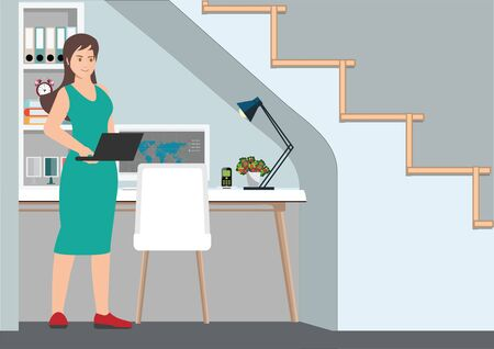 Young professional woman working from home at her desk at home.  Workplace with a computer under the stairs. Self employed conceptual vector illustration.