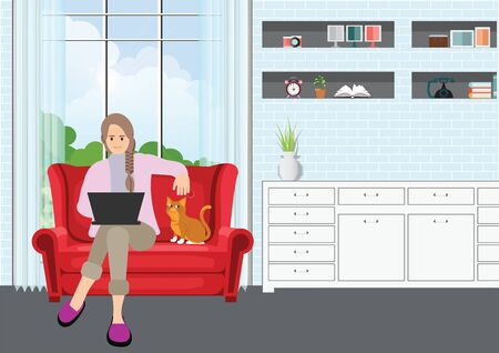 Young professional woman working from home at sofa with laptop.Self employed conceptual vector illustration.