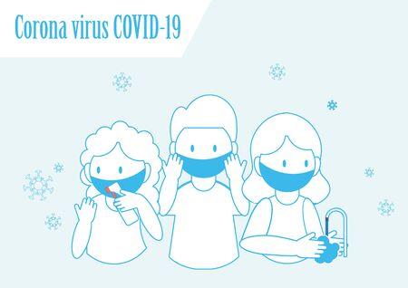 Corona virus COVID-19 hygiene promotion with wearing a face mask, sanitizing with alcohol and washing your hands, cartoon character flat vector illustration.