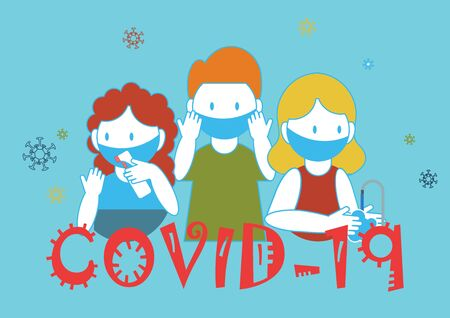 COVID-19 hygiene promotion with wearing a face mask, sanitizing with alcohol and washing your hands, cartoon character flat vector illustration. Stock Illustratie