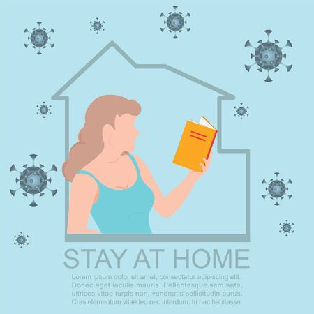 Happy woman reading book during isolation.Stay at home during the coronavirus epidemic. Female employee works from home. Coronavirus conceptual Vector illustration.