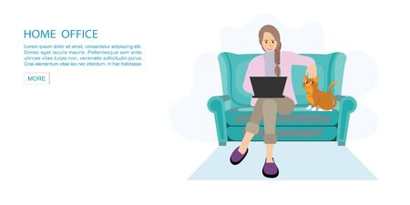 Happy woman working from home at sofa with laptop.Self employed conceptual vector illustration. Stock Illustratie