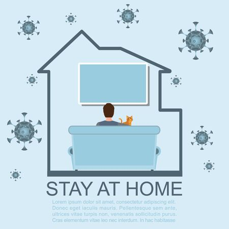 Stay at home during the coronavirus epidemic. Work at home during isolation. Female employee works from home. Coronavirus conceptual Vector illustration. Stock Illustratie