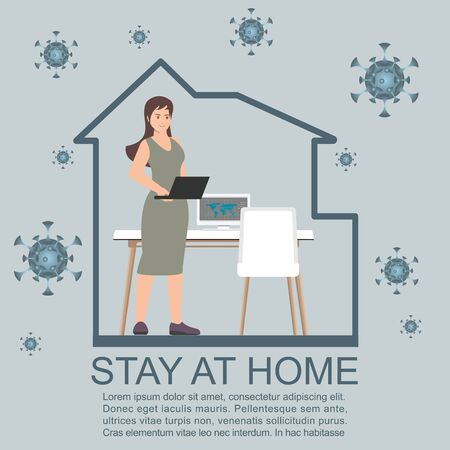 Work at home during isolation.Stay at home during the coronavirus epidemic. Female employee works from home. Coronavirus conceptual Vector illustration.