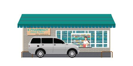 Drive Thru pharmacy with customer a purchased product at a drive thru line isolated on white, flat design vector illustration.