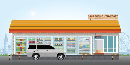 Drive Thru supermarket with customer a purchased product at a drive thru line, flat design vector illustration.