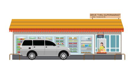 Drive Thru supermarket with customer a purchased product at a drive thru line isolated on white, flat design vector illustration.