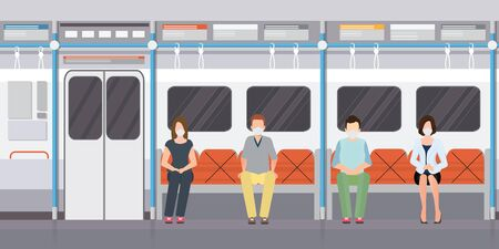 Social distancing concept with people wearing medical masks on subway train. keep spaces between each chairs make separate for social distancing, increasing physical space between people to avoid spreading illness during transmission of COVID-19. vector illustration.