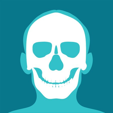 Xray of head and neck isolated on blue backdround. the joints and bones,human joints, skeletal spinal bone structure of Human Spine, medical health care flat vector illustration.