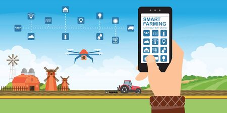 Farmer using smart phone for control and monitoring on the field with agricultural drones for control agricultural production, processing and logistic center for growing vegetables, vector illustration.