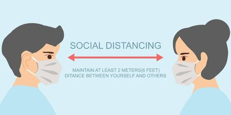 People keeping distance for infection risk and disease prevention measures. Social Distancing vector illustration.