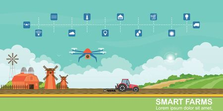 Smart farm and agricultural drones for control agricultural production, processing and logistic center for growing vegetables, vector illustration.