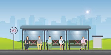 Social distancing concept with people wearing medical masks at the bus stop. keep spaces between each chairs make separate for social distancing, increasing physical space between people to avoid spreading illness during transmission of COVID-19.vector illustration.