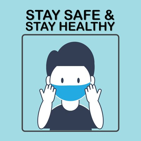 Stay safe stay healthy banner.Man wearing face mask.Social distance, Social media campaign and coronavirus prevention for reduce risk of infection and spreading the virus. vector illustration. Stock Illustratie