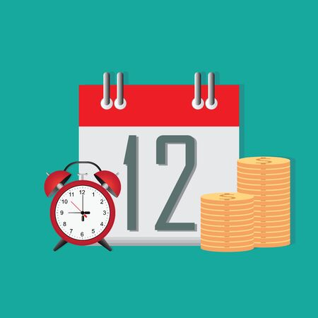 Time to save money conceptual, timer or clock with lots of cash and calendar date.Money saving.Times is money. Business and management vector illustration.