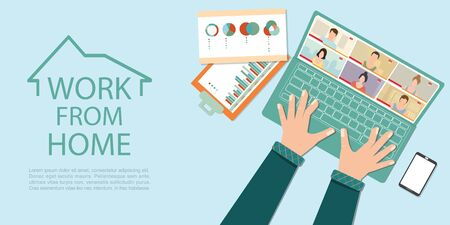 Online meeting work form home during Covid-19 pandemic. Video conference call using an app during lockdown.Social isolation due to covid-19.Working from home concept vector illustration.