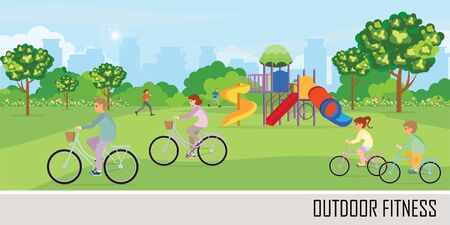Sport outdoors activity with playground in the public park on the City view background.People are running, cycling and relaxing. healthy lifestyle concept vector illustration. Stock Illustratie