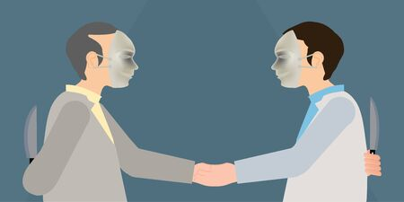 Two business man in mask to shaking hands and holds knife in his hand, faking business partnership, hide real feeling or face behind mask, conceptual in hypocrisy vector illustration.