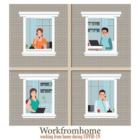 Windows with Employees are working from home to avoid spreading COVID-19. The concept of social isolation during the coronavirus pandemic. conceptual vector illustration.