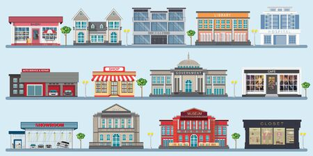 Colorful of city buildings with various large modern buildings, museum, hospital, bank, library, cafe, shop and government building, design architecture construction vector illustration.