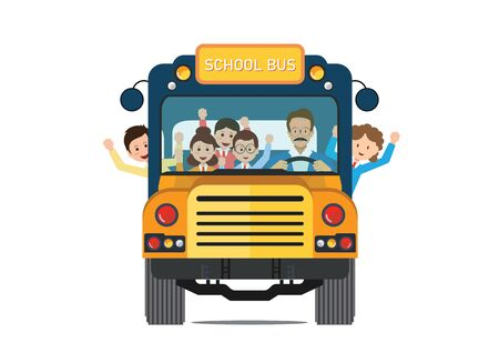 Happy smiling kids riding on a yellow school bus with a driver isolated on white background. vector illustration.