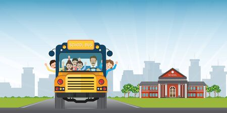 Happy smiling kids riding on a yellow school bus with a driver on school building view background. vector illustration.