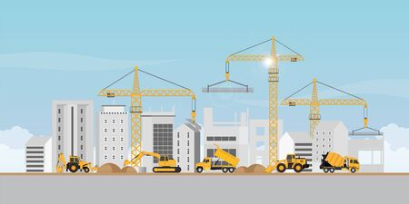 Process of construction of big building dormitory area.Under construction Building work process with construction machines. Vector illustration.