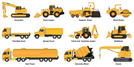 Set of construct machines.Heavy machinery vehicles, excavator, dump truck, crane, concrete mixer, bulldozer and fuel truck, illustration vector transportation.