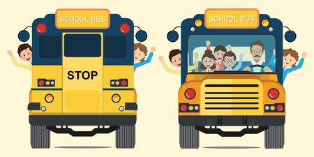 Yellow school bus back and front view with happy smiling kids riding on the school bus, vector illustration. Stock Illustratie