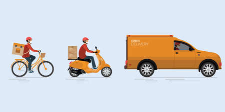 Online delivery service, delivery home and office with delivery man in respirator mask.truck, scooter and bicycle courier.Quarantine in the city to avoid spreading COVID-19. Vector illustration. Stock Illustratie