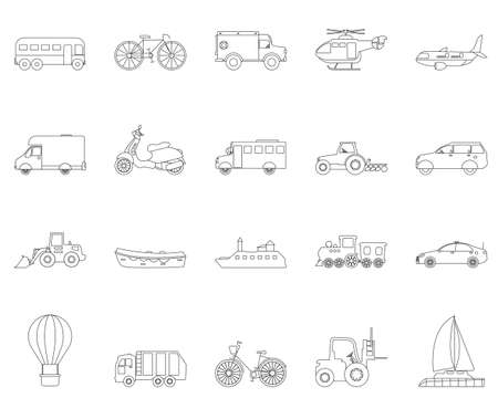 Collection of transport line icons. Transportable vehicle set of airplane, train, car , bicycle and truck for transportation isolated on white background.