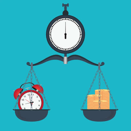 Balance time and money on scales,Time to save money conceptual, timer or clock with lots of cash, Money saving,Times is money. Business and management vector illustration.