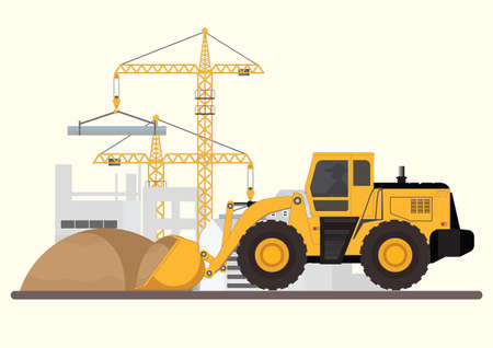 Construction of building.Machinery working in area. Crane with bulldozer, under construction Building work process with construction machines, Vector illustration. Stock Illustratie