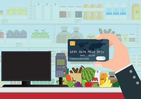 Payment by bank credit card. Supermarket interior with products on shelves.Cashier counter workplace. Cash register and keypad. Vector illustration in flat style. Stock Illustratie