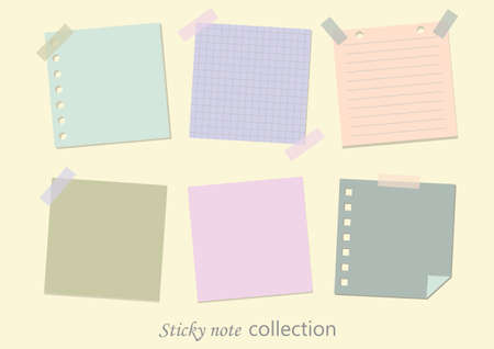 Collections of blank sticky note isolated on background, notes, vector illustration.