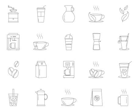 Simple set of Coffee and Tea line icons.Cappuccino, Teapot and Coffeepot. Coffee beans linear icon set vector illustration.