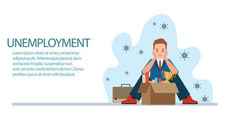 Coronavirus COVID-19 impact on businesses people lost Business project is canceled, shut down causing unemployment financial distress. Depressed crying business man. business concept vector illustration.