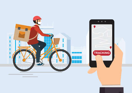 Courier on a bike with parcel box on the back tracking an order using his smartphone, city street in the background, logistics and technology, delivery service app on smartphone concept vector illustration.