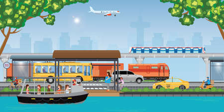 Transport in a modern city. Integrated transport strategy.Traffic info graphics design elements with transport, including plane, bus, metro, train, cars, ship, bicycle and taxi, vector illustration.
