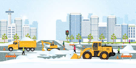 Snow plow truck cleaning urban residential area streets winter snow removal, concept modern city buildings, cleaning snow on the streets of the city vector illustration.