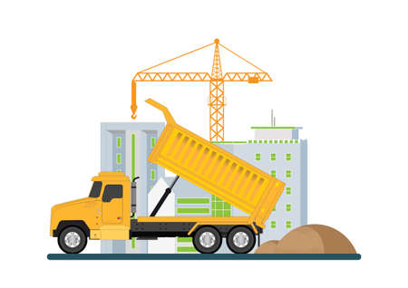 Crane with dump truck.Construction of building. Machinery working in area.under construction Building work process with construction machines, Vector illustration.