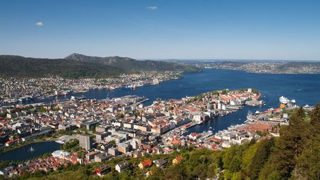 Panoramic view of the idyllic city of Bergen, Norway from Mount Fløyen. photo