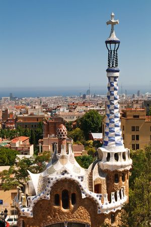 View from Antoni Gaudis Park Güell. Barcelona, Spain, and the Mediterranian Sea in the background.