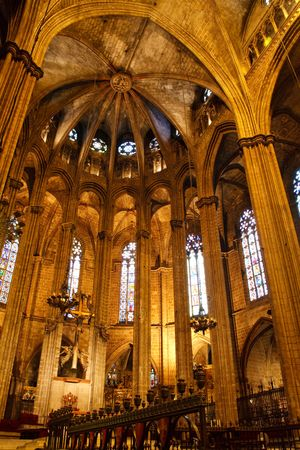nave: Inside the Cathedral of Santa Eulalia in Barcelonas Barri Gotic district. Stock Photo