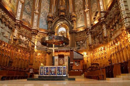 abbey: Basilica at the Montserrat Monastery, a spectacularly beautiful Benedictine Abbey high up in the mountains near Barcelona, Catalonia, Spain. Stock Photo