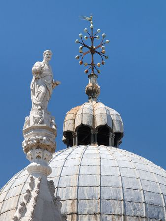 st mark: Details of the Domes of the famous Basilica di San Marco (St. Marks Cathedral) at Piazza San Marco (St. Marks Square) in Venice, Italy. Stock Photo